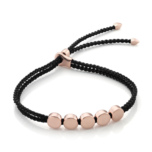 Rose Gold Vermeil Linear Bead Friendship Bracelet - Black - Monica Vinader
