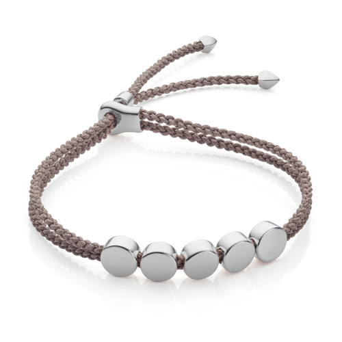 Sterling Silver Linear Bead Friendship Bracelet - Mink - Monica Vinader
