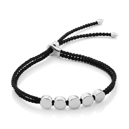 Sterling Silver Linear Bead Friendship Bracelet - Black - Monica Vinader