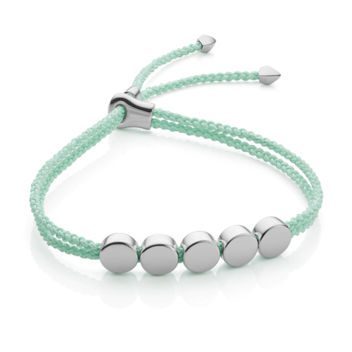 Sterling Silver Linear Bead Friendship Bracelet - Mint - Monica Vinader