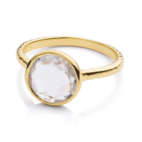 Gold Vermeil Mini Luna Ring - Rock Crystal - Monica Vinader