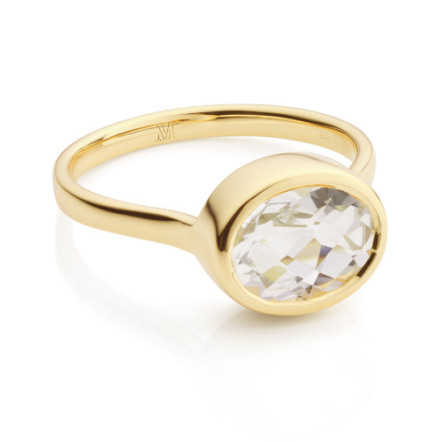 Gold Vermeil Candy Oval Ring - Rock Crystal - Monica Vinader