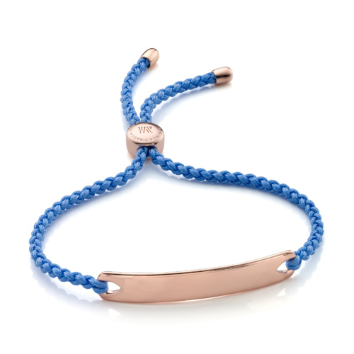 Rose Gold Vermeil Havana Friendship Bracelet - Powder Blue - Monica Vinader