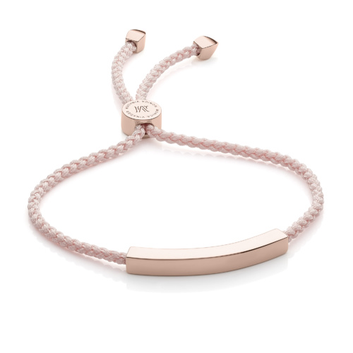 Rose Gold Vermeil Linear Friendship Bracelet - Ballet Pink - Monica Vinader