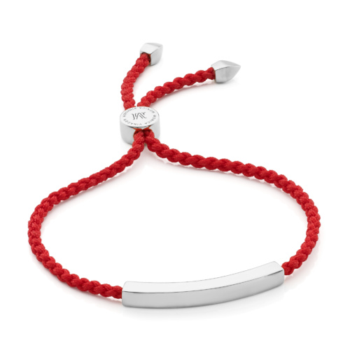 Sterling Silver Linear Friendship Bracelet - Coral - Monica Vinader