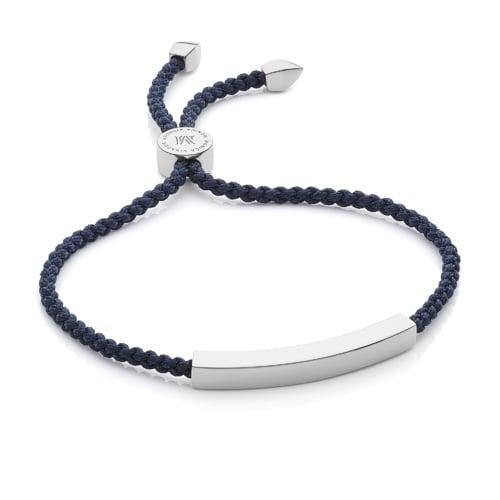 Sterling Silver Linear Friendship Bracelet - Navy Blue - Monica Vinader