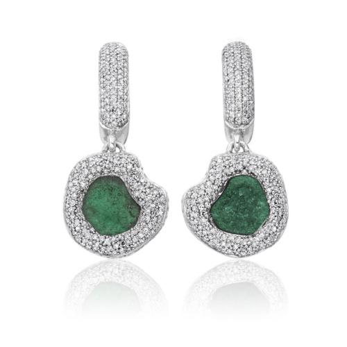 Esencia Diamond and Emerald Drop Earrings - Emerald - Monica Vinader