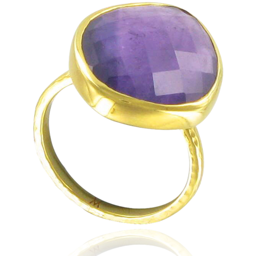 Gold Vermeil Nugget Ring - Large - Amethyst - Monica Vinader