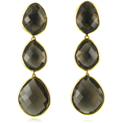 Gold Vermeil Nugget Cocktail Earrings - Smoky Quartz - Monica Vinader