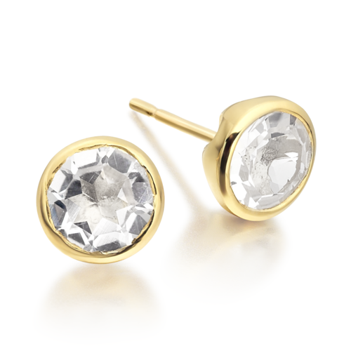 Gold Vermeil Isla Stud Earrings - White Topaz - Monica Vinader