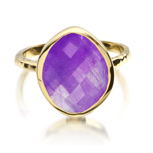 Gold Vermeil Nugget Ring - Small - Amethyst - Monica Vinader
