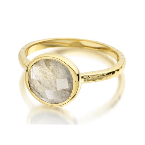 Gold Vermeil Mini Luna Ring - Labradorite - Monica Vinader