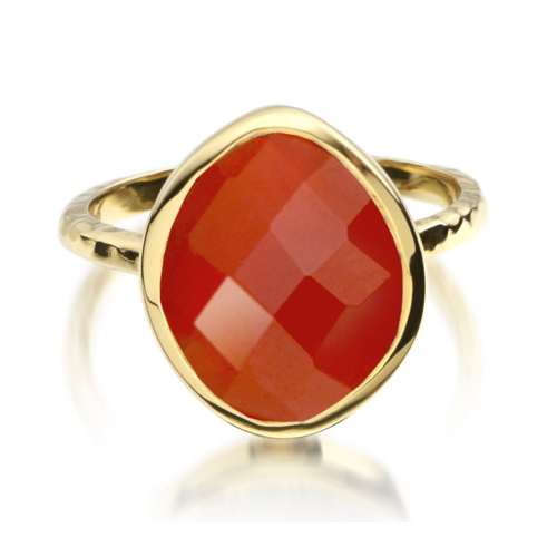 Gold Vermeil Nugget Ring - Small - Carnelian - Monica Vinader