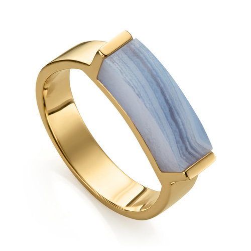 Gold Vermeil Linear Stone Ring - Blue Lace Agate - Monica Vinader