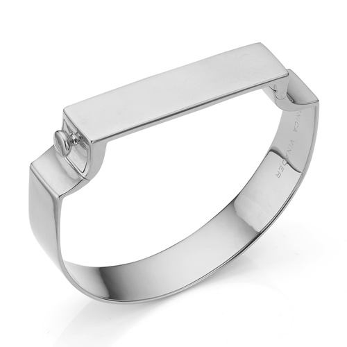 Sterling Silver Signature Wide Bangle - Monica Vinader