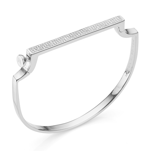 Sterling Silver Signature Thin Diamond Bangle - Diamond - Monica Vinader