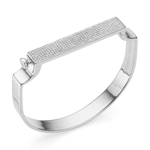 Sterling Silver Signature Diamond Bangle - Diamond - Monica Vinader