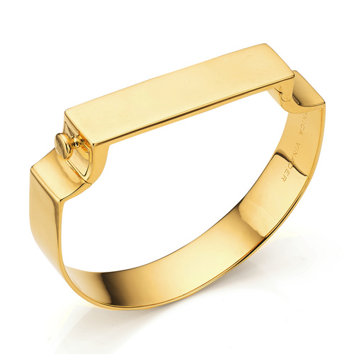 Gold Vermeil Signature Large Wide Bangle  - Monica Vinader