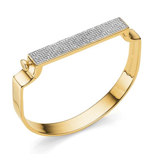 Gold Vermeil Signature Large Bangle  - Diamond - Monica Vinader