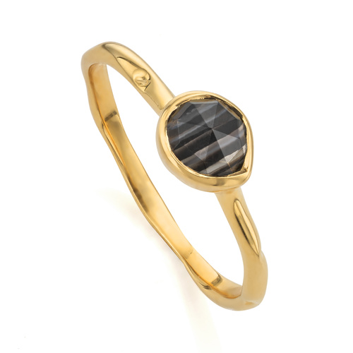 Gold Vermeil Siren Small Stacking Ring - Black Line Onyx - Monica Vinader