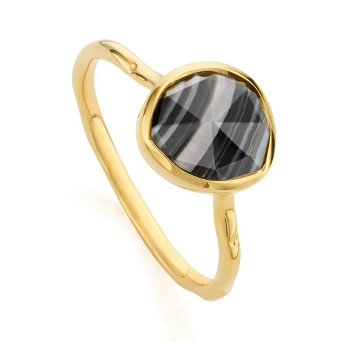 Gold Vermeil Siren Stacking Ring - Black Line Onyx - Monica Vinader