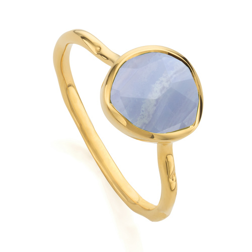 Gold Vermeil Siren Stacking Ring - Blue Lace Agate - Monica Vinader