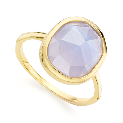 Gold Vermeil Siren Medium Stacking Ring - Blue Lace Agate - Monica Vinader