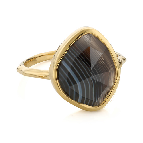 Gold Vermeil Siren Nugget Stacking Ring - Black Line Onyx - Monica Vinader