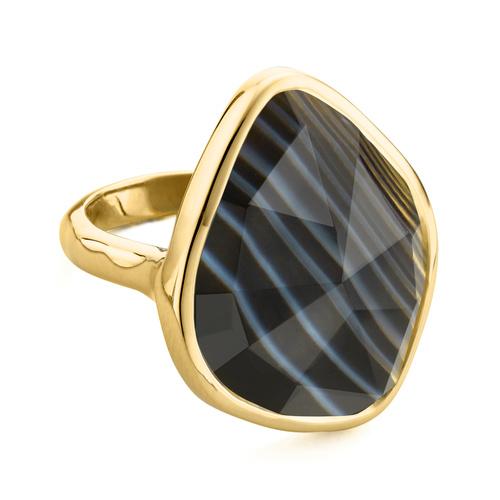 Gold Vermeil Siren Nugget Ring - Black Line Onyx - Monica Vinader