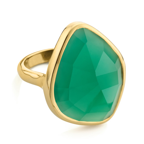 Gold Vermeil Siren Nugget Cocktail Ring - Green Onyx - Monica Vinader