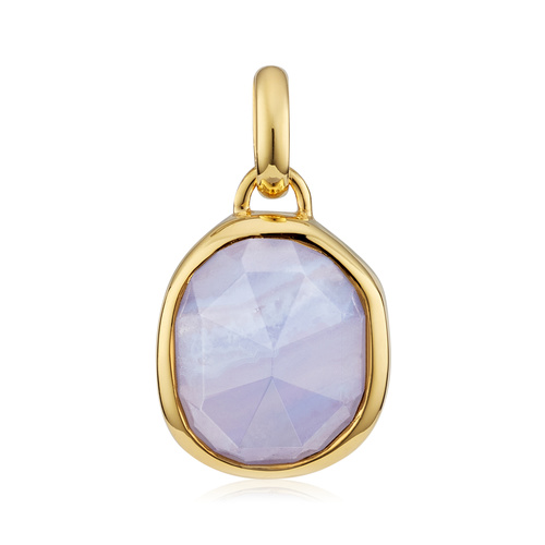 Gold Vermeil Siren Medium Bezel Pendant - Blue Lace Agate - Monica Vinader