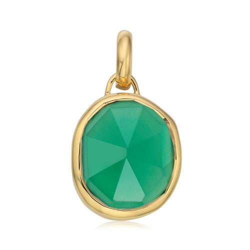 Gold Vermeil Siren Medium Bezel Pendant Charm - Green Onyx - Monica Vinader