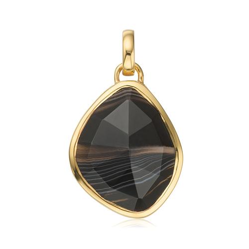 Gold Vermeil Siren Nugget Pendant - Black Line Onyx - Monica Vinader
