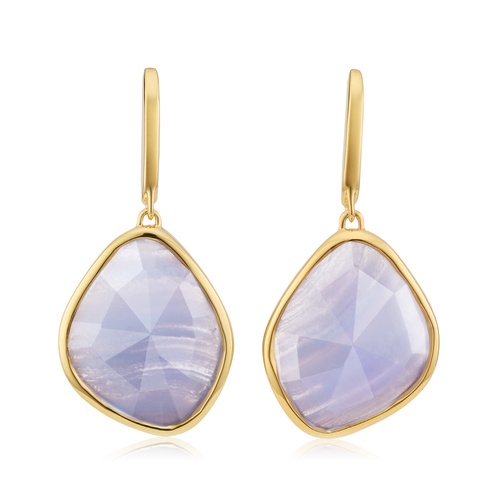 Gold Vermeil Siren Large Nugget Earrings - Blue Lace Agate - Monica Vinader