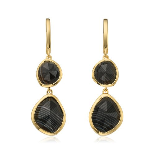 Gold Vermeil Siren Double Nugget Drop Earrings - Black Line Onyx - Monica Vinader