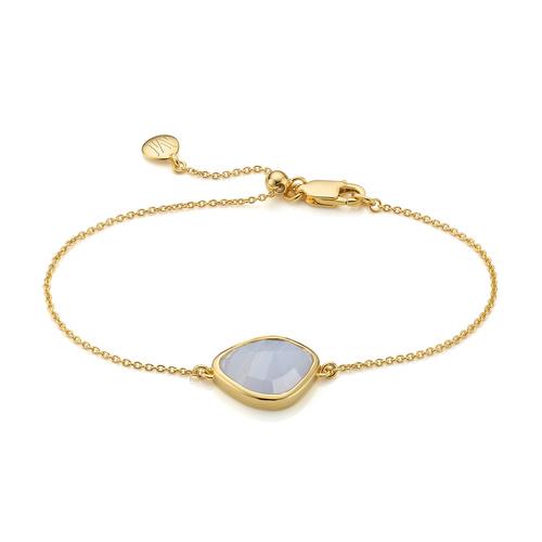 Gold Vermeil Siren Nugget Bracelet - Blue Lace Agate - Monica Vinader