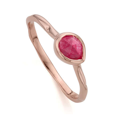 Rose Gold Vermeil Siren Small Stacking Ring - Pink Quartz - Monica Vinader