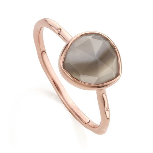 Rose Gold Vermeil Siren Stacking Ring - Grey Agate - Monica Vinader