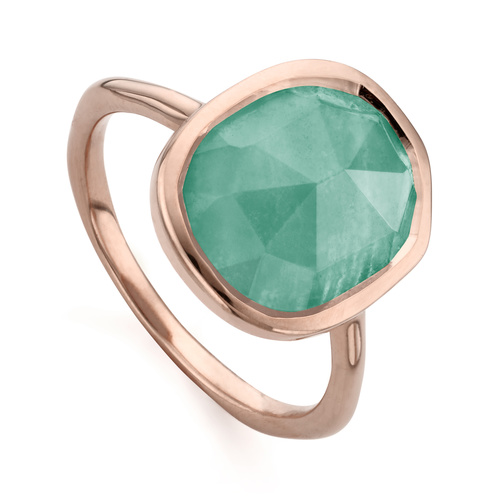 Rose Gold Vermeil Siren Medium Stacking Ring - Amazonite - Monica Vinader
