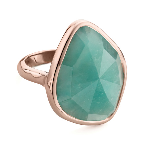 Rose Gold Vermeil Siren Nugget Cocktail Ring - Amazonite - Monica Vinader