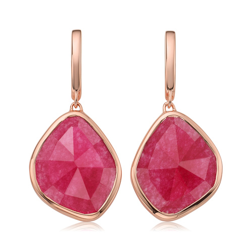 Rose Gold Vermeil Siren Large Nugget Earrings - Pink Quartz - Monica Vinader