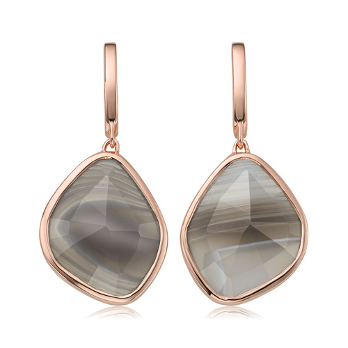 Rose Gold Vermeil Siren Large Nugget Earrings - Grey Agate - Monica Vinader