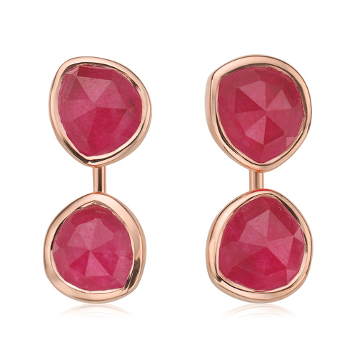 Rose Gold Vermeil Siren Jacket Earrings - Pink Quartz - Monica Vinader