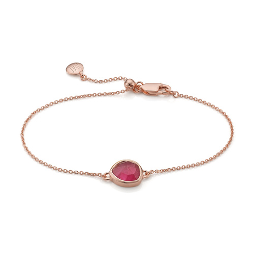 Rose Gold Vermeil Siren Fine Chain Bracelet - Pink Quartz - Monica Vinader