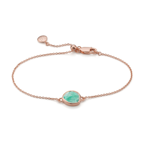 Rose Gold Vermeil Siren Fine Chain Bracelet - Amazonite - Monica Vinader