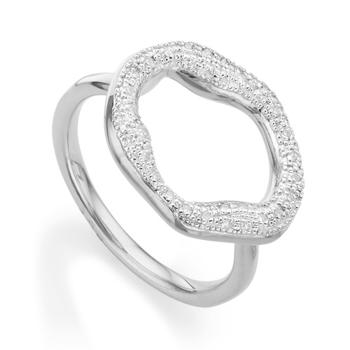 Sterling Silver Riva Diamond Circle Ring - Diamond - Monica Vinader