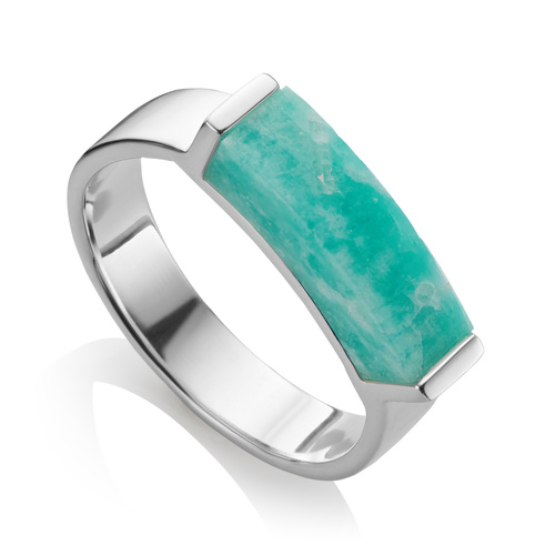 Sterling Silver Linear Stone Ring - Amazonite - Monica Vinader