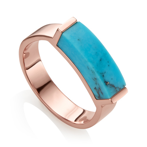 Rose Gold Vermeil Linear Stone Ring - Turquoise - Monica Vinader