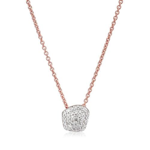Rose Gold Vermeil Nura Mini Nugget Necklace  - Diamond - Monica Vinader