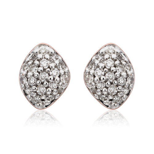 Rose Gold Vermeil Nura Mini Teardrop Stud Earrings - Diamond - Monica Vinader